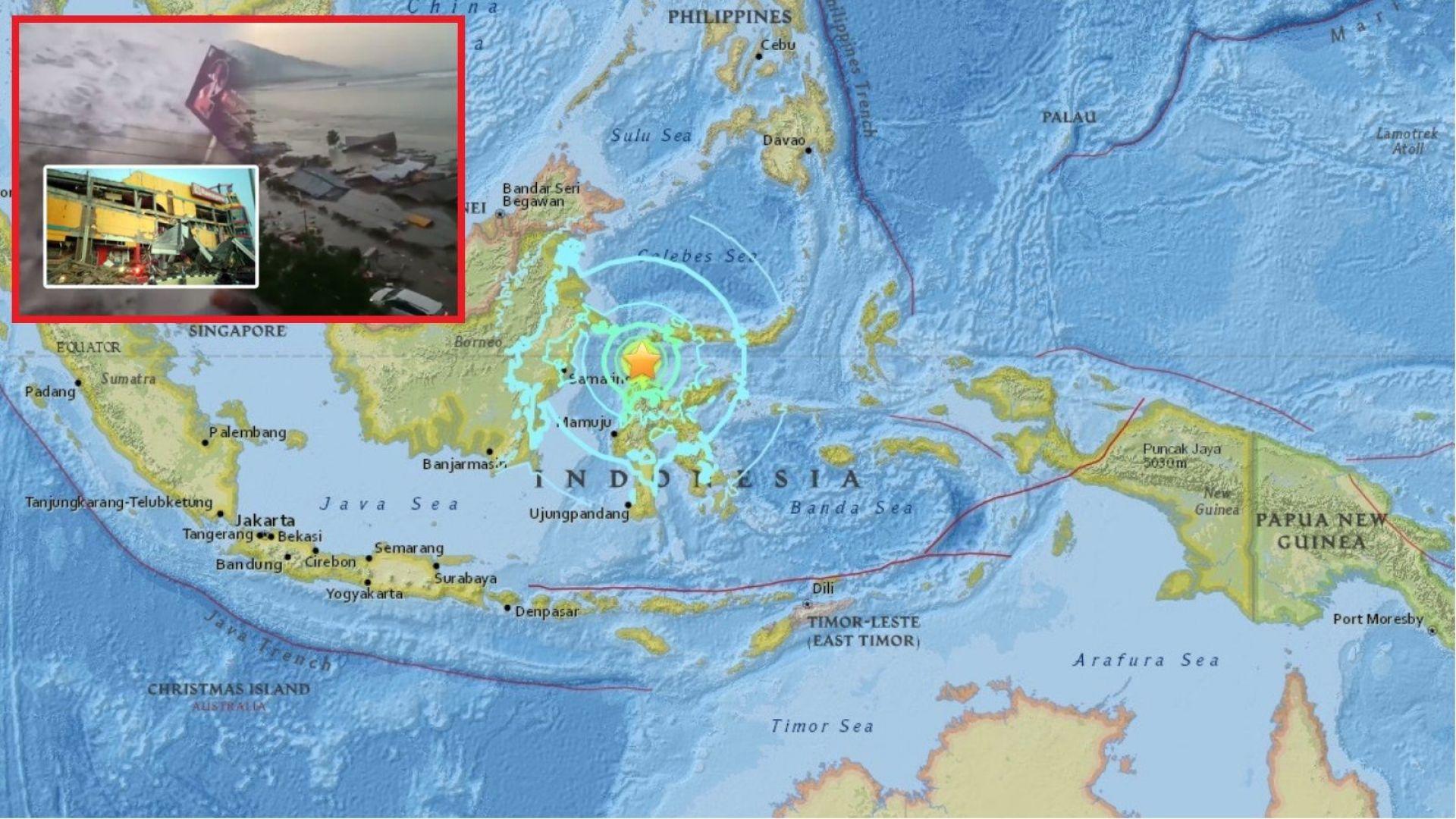 7,5 по Рихтер удари остров Сулавеси, цунами разруши сгради, има загинали