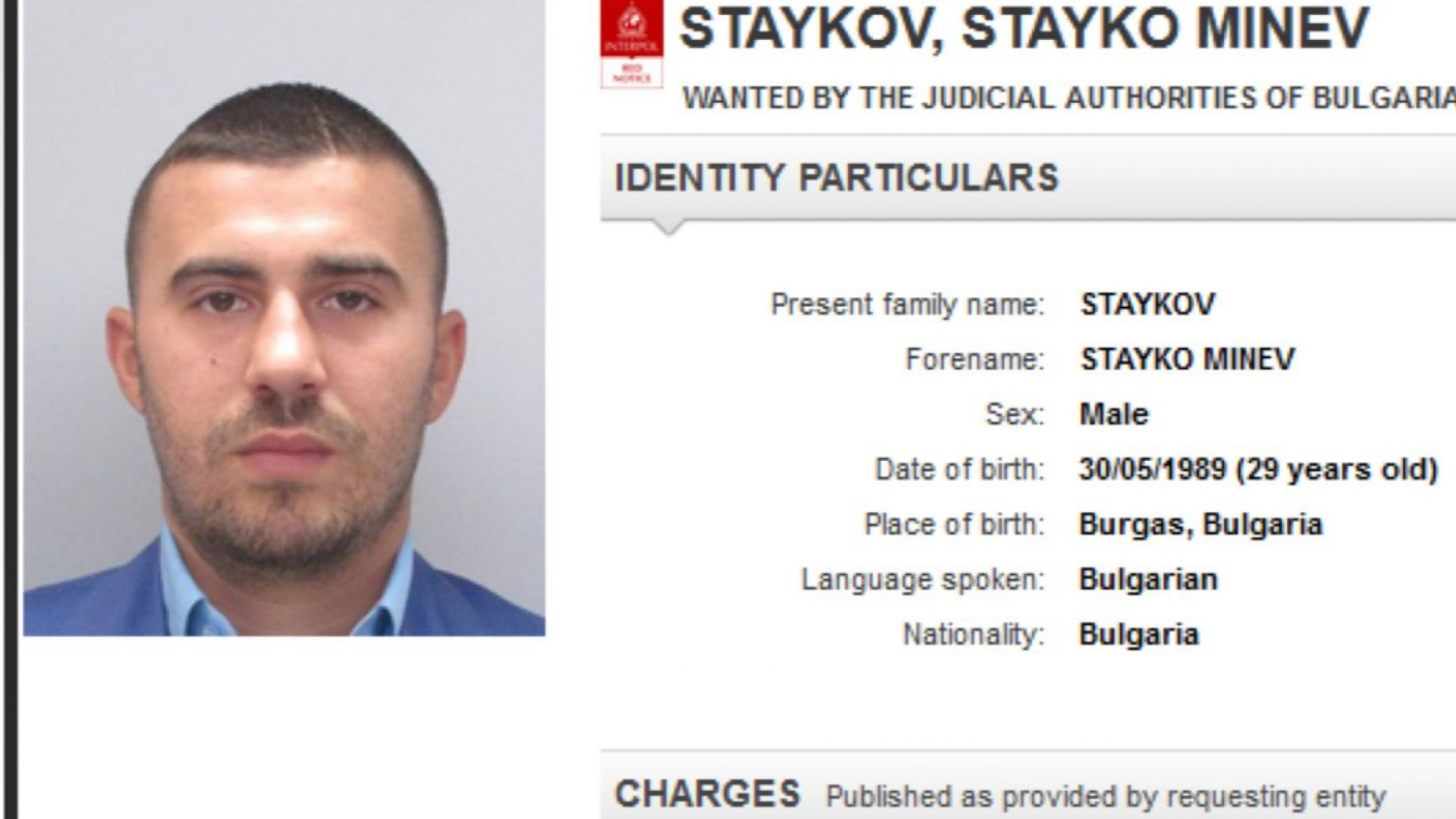 Интерпол обяви за издирване сина на Миню Стайков