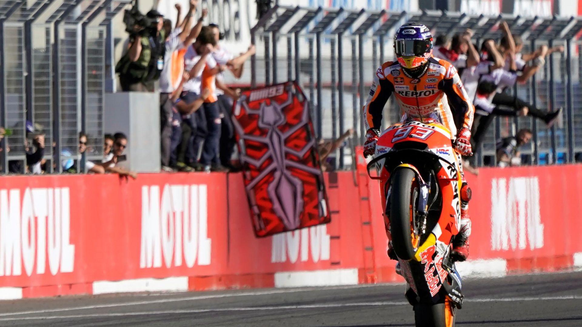 Шампионът в Moto GP се контузи при празненствата