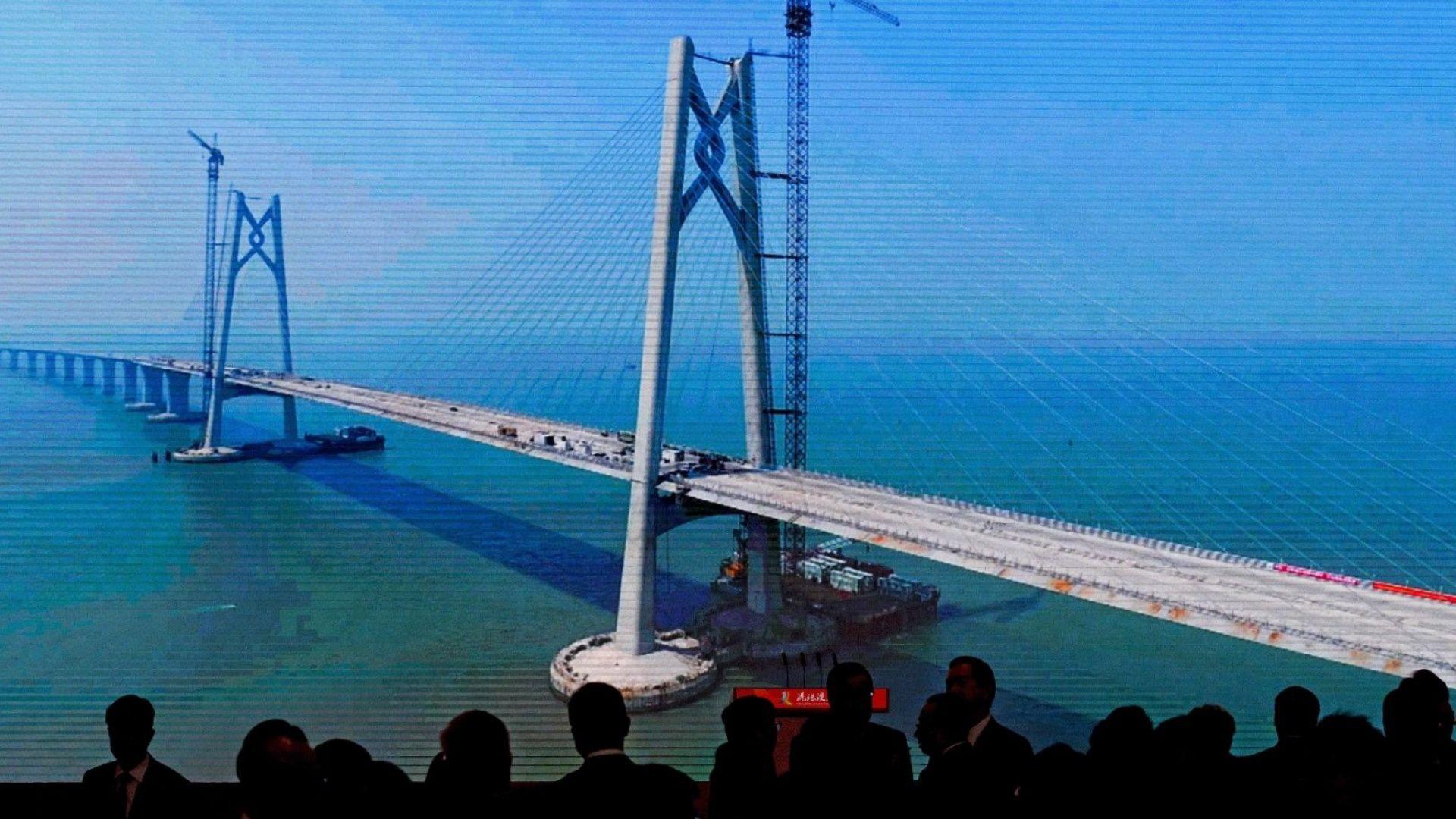 Откриха най-дългия морски мост, който свърза Хонконг, Макао и китайски град