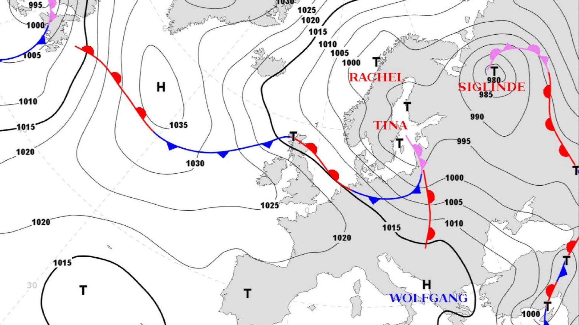 Виновниците за студа: Циклонът Тина и антициклонът Волфганг