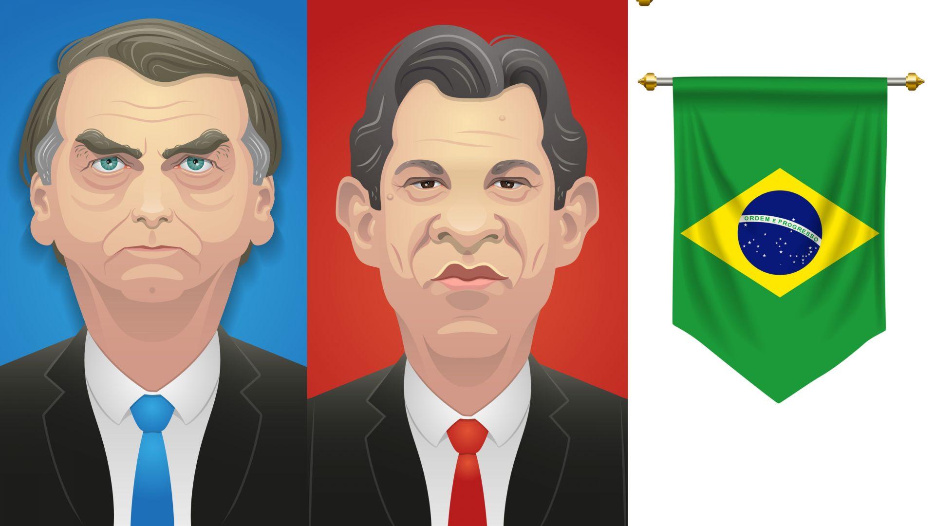 Жаир Болсонаро (вляво) и Фернандо Адад ( в средата) излизат на балотаж в надпреварата за президентския пост в Бразилия