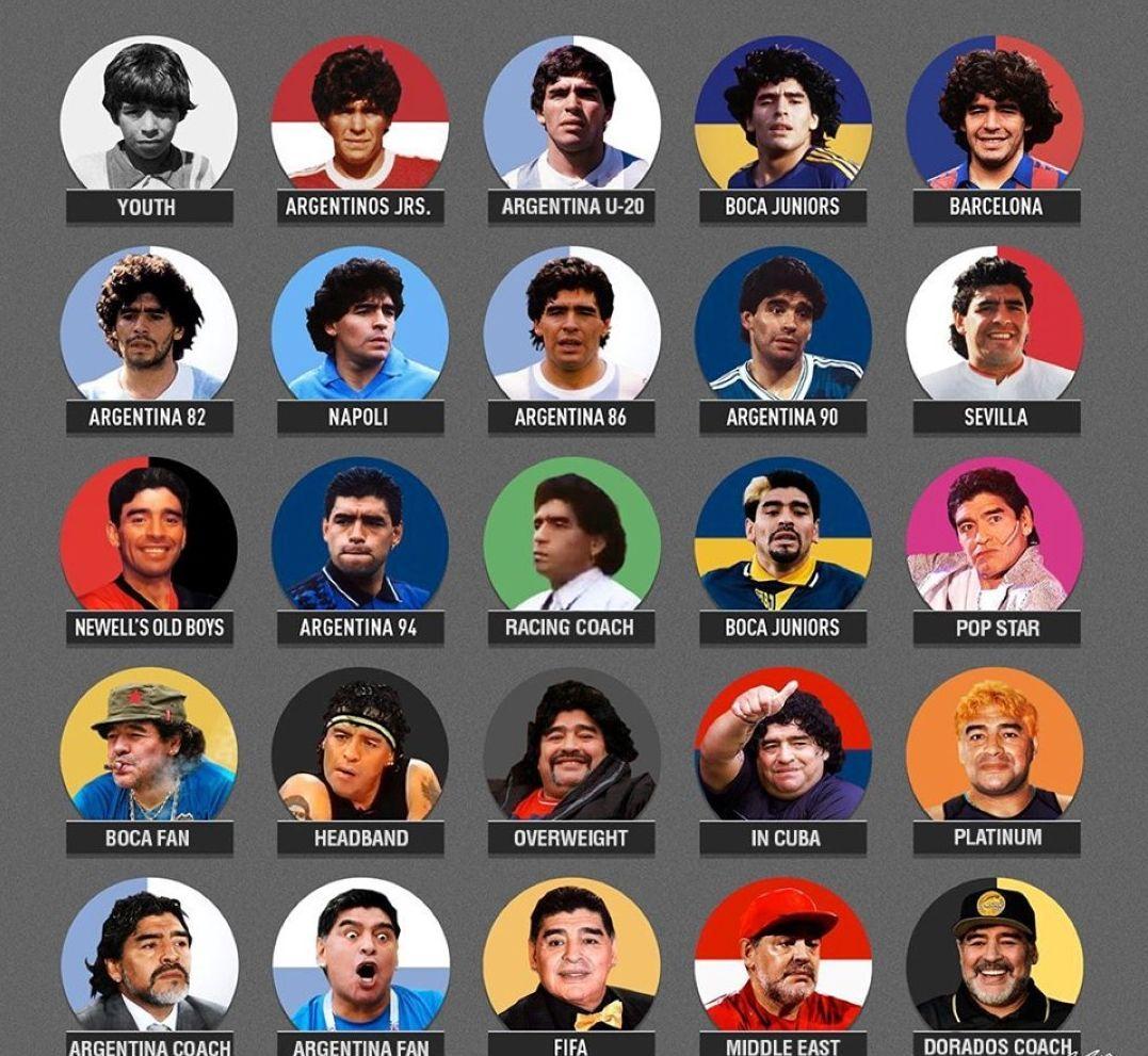 Марадона през годините.