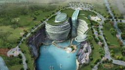 В Китай откриват уникален 18-етажен хотел, построен в изоставена кариера
