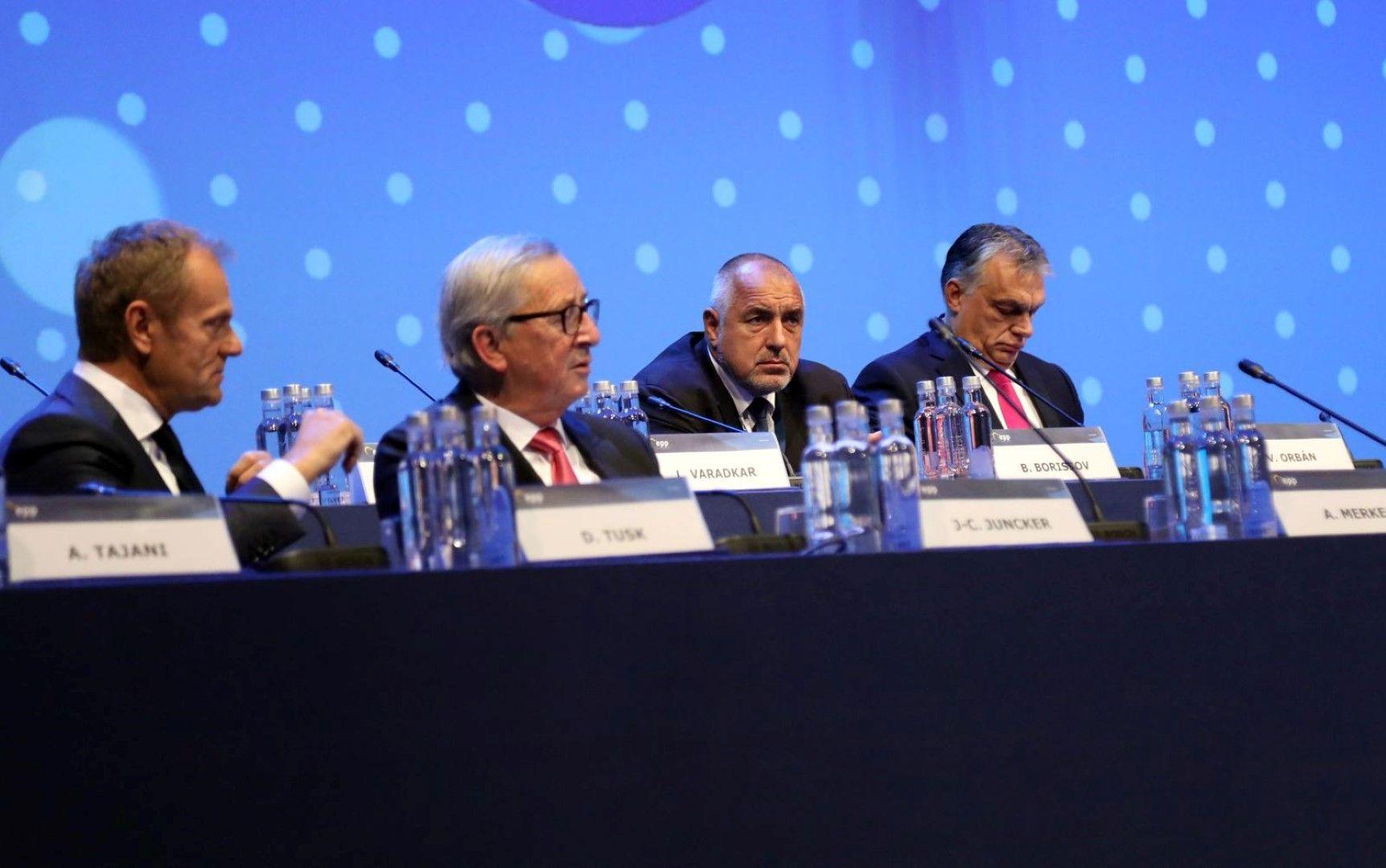 Борисов седна редом с Доналд Туск, Юнкер и Орбан
