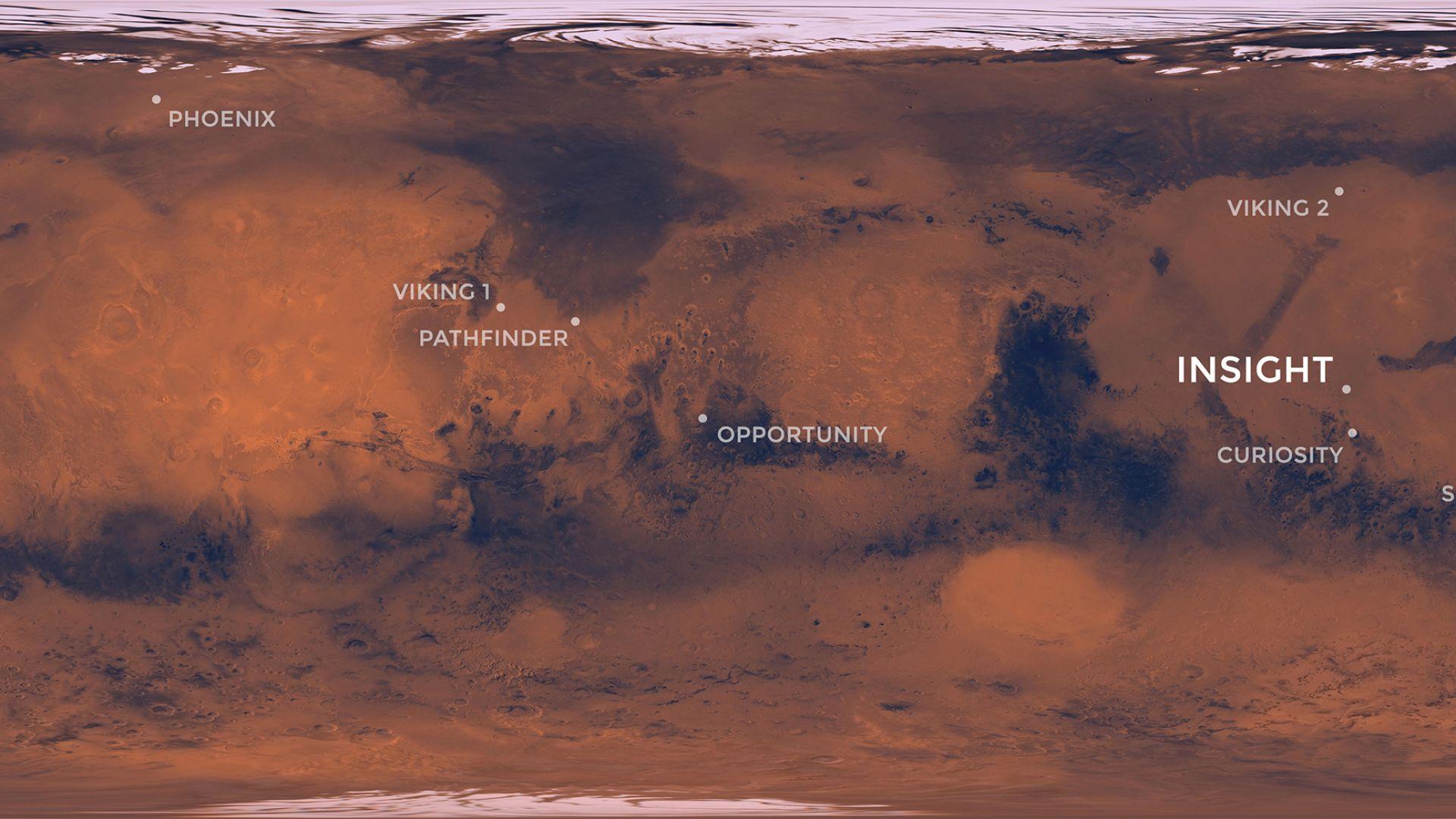 Местоположението на изпратените до този момент сонди на Марс