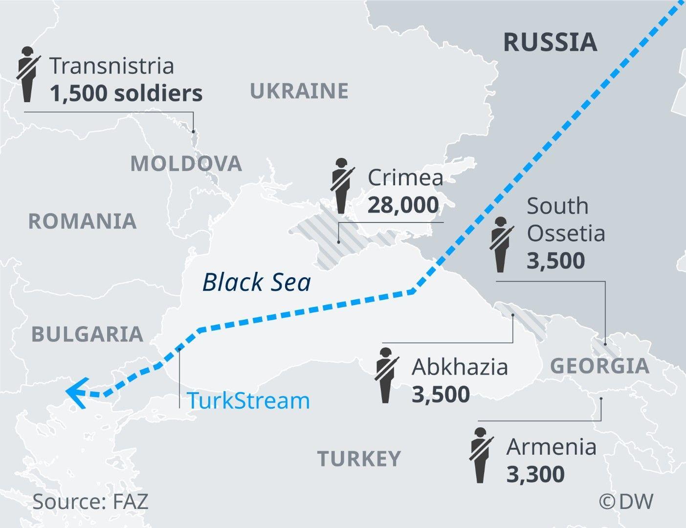 Разположените в района на Черно море руски военни части