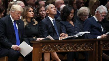 Тръмп и Обама заедно край ковчега на Буш (снимки)