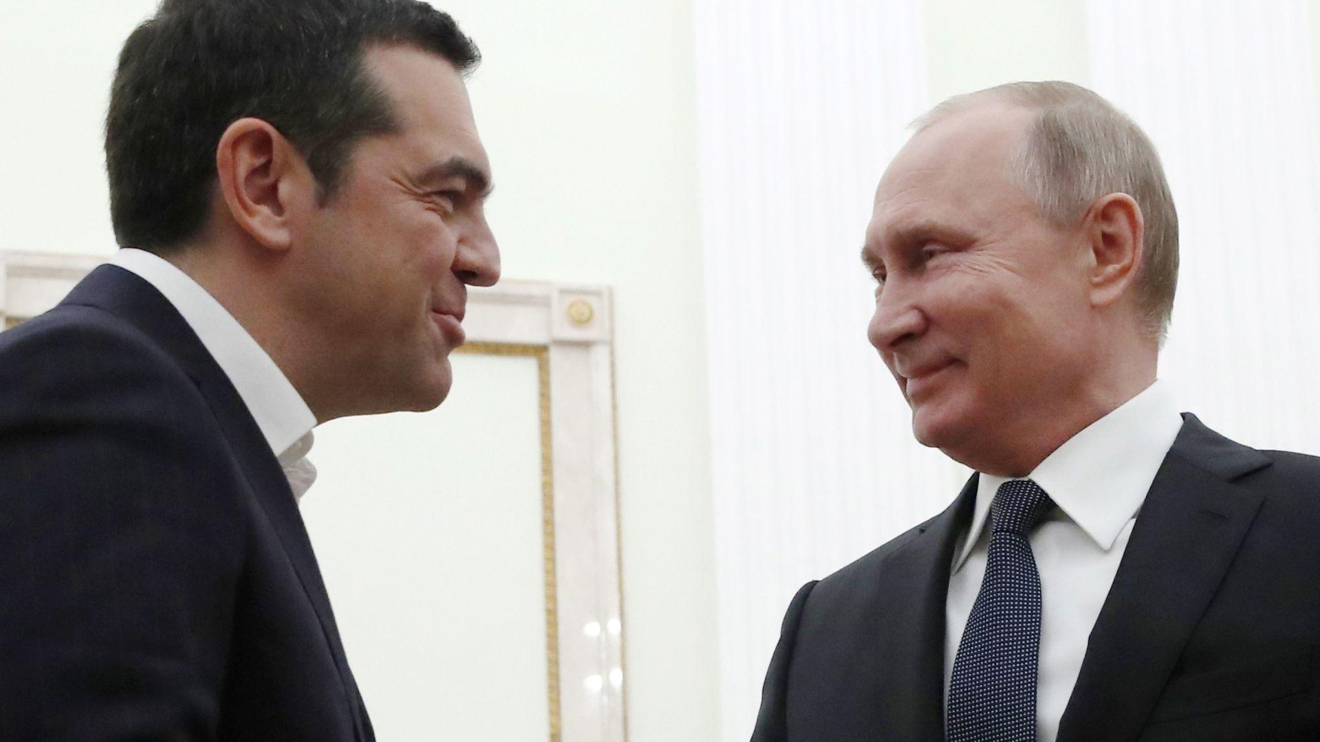 Ципрас: Ще сложа пак вратовръзка, ако Путин ми подари. Той: Разбрахме се!