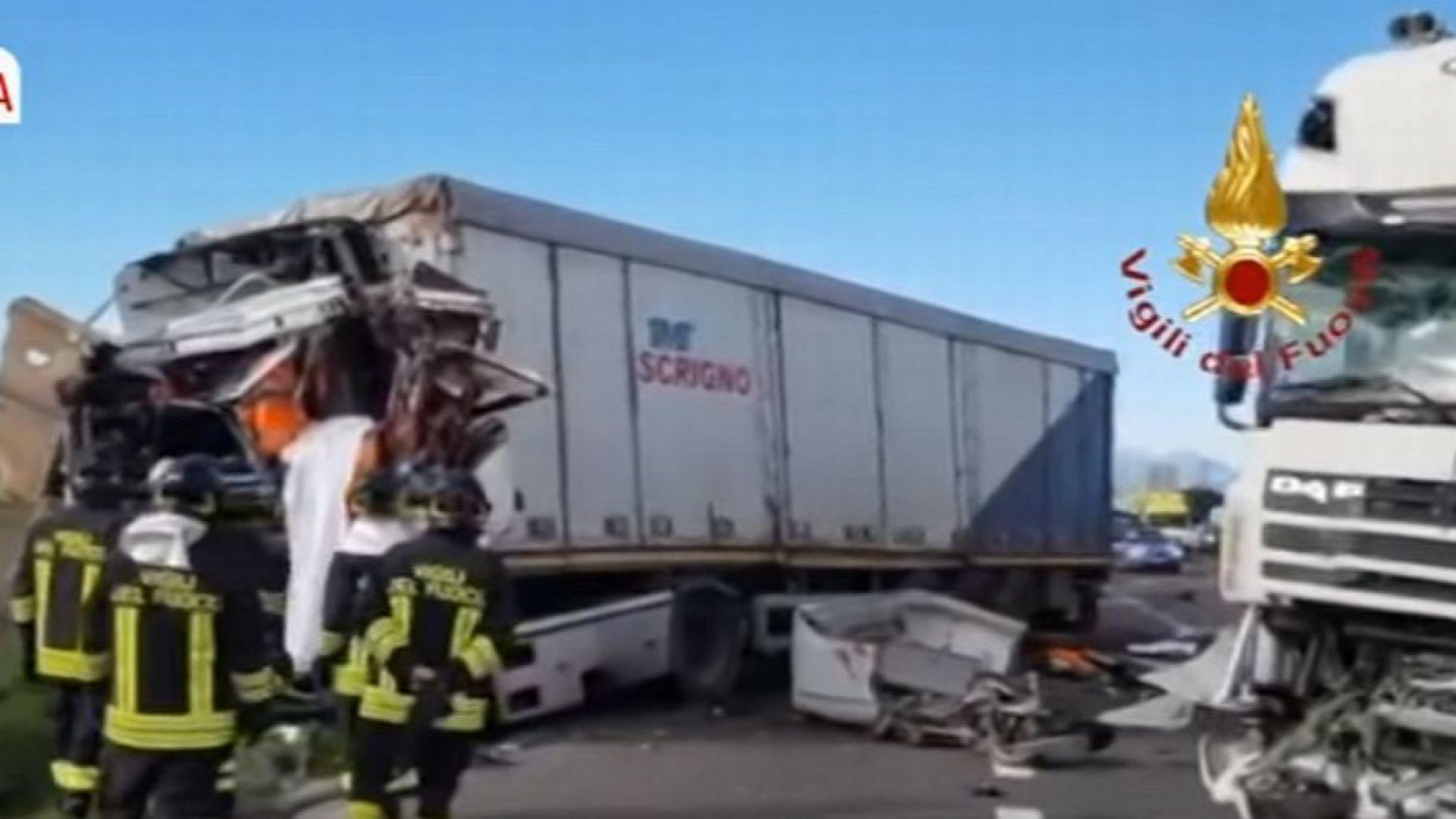 Българин загина при сблъсък на три ТИР-а в Италия (видео)