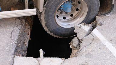 Камион пропадна на паркинг в Благоевград (снимки)