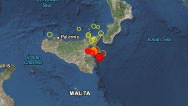 Трус със сила 4,9 по Рихтер разтресе Сицилия