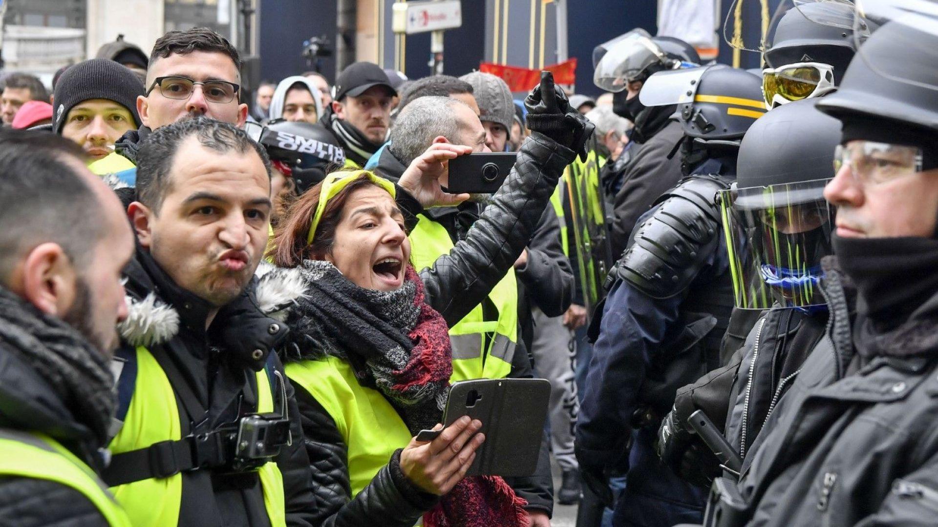 """Френските """"жълти жилетки"""" се събраха за седма поредна събота"""