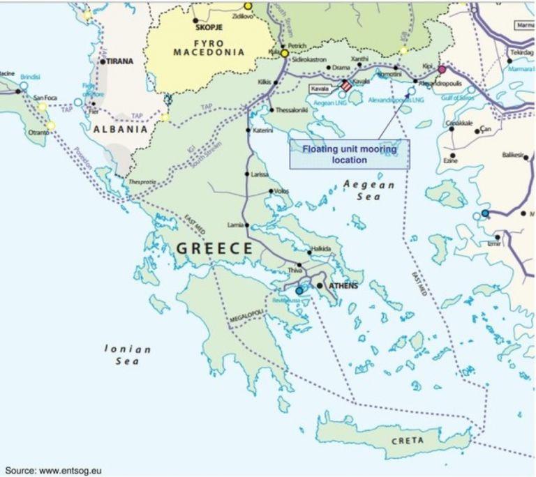 Независимата система за природен газ край Александропулис (Independent Natural Gas System (INGS), част от която е терминалът за втечнен газ, и планираните газови коридори на север и на запад