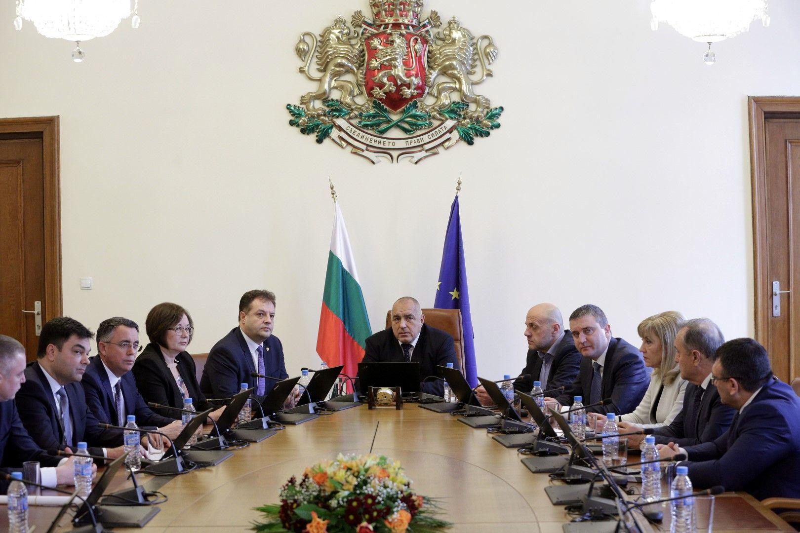 Премиерът Бойко Борисов (средата) се срещна в Министерския съвет с представители на Националното сдружение на общините в Република България