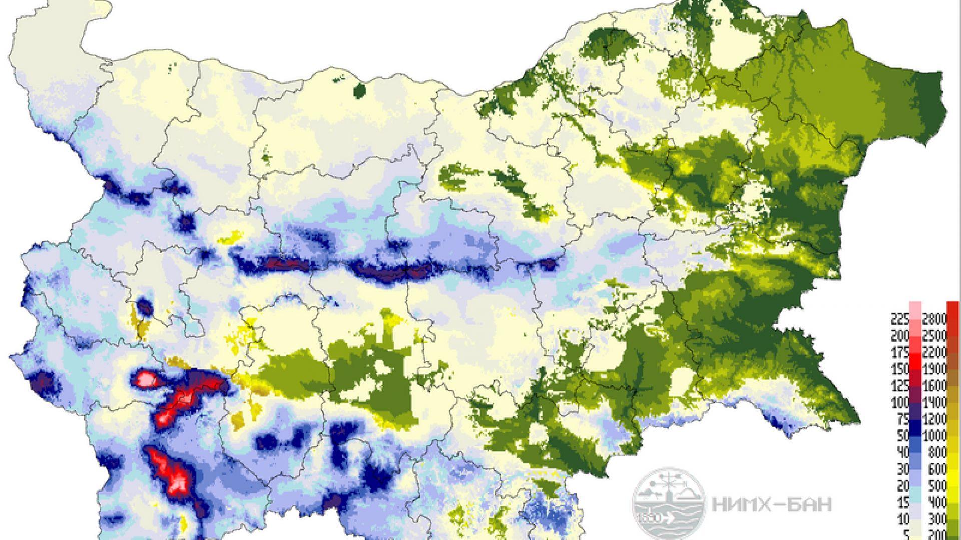 Снежната покривка у нас е символична, на фона на тази в много държави от Югоизточна и Централна Европа