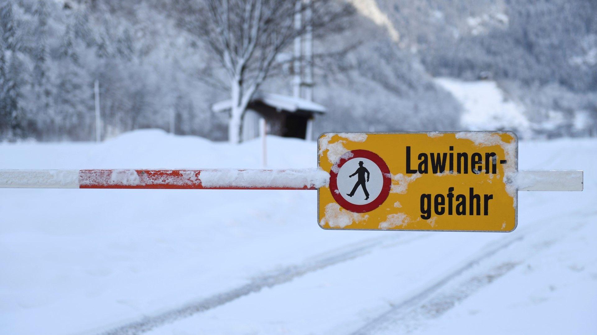 Предупреждение за опасност от лавини в провинция Залцбург в Австрия