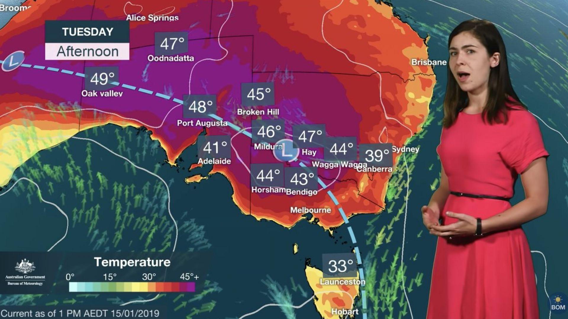 Вчера е бил най-топлият ден в Австралия, откакто се водят статистиките