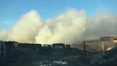 Пожар в хранилище на химическия завод в Девня