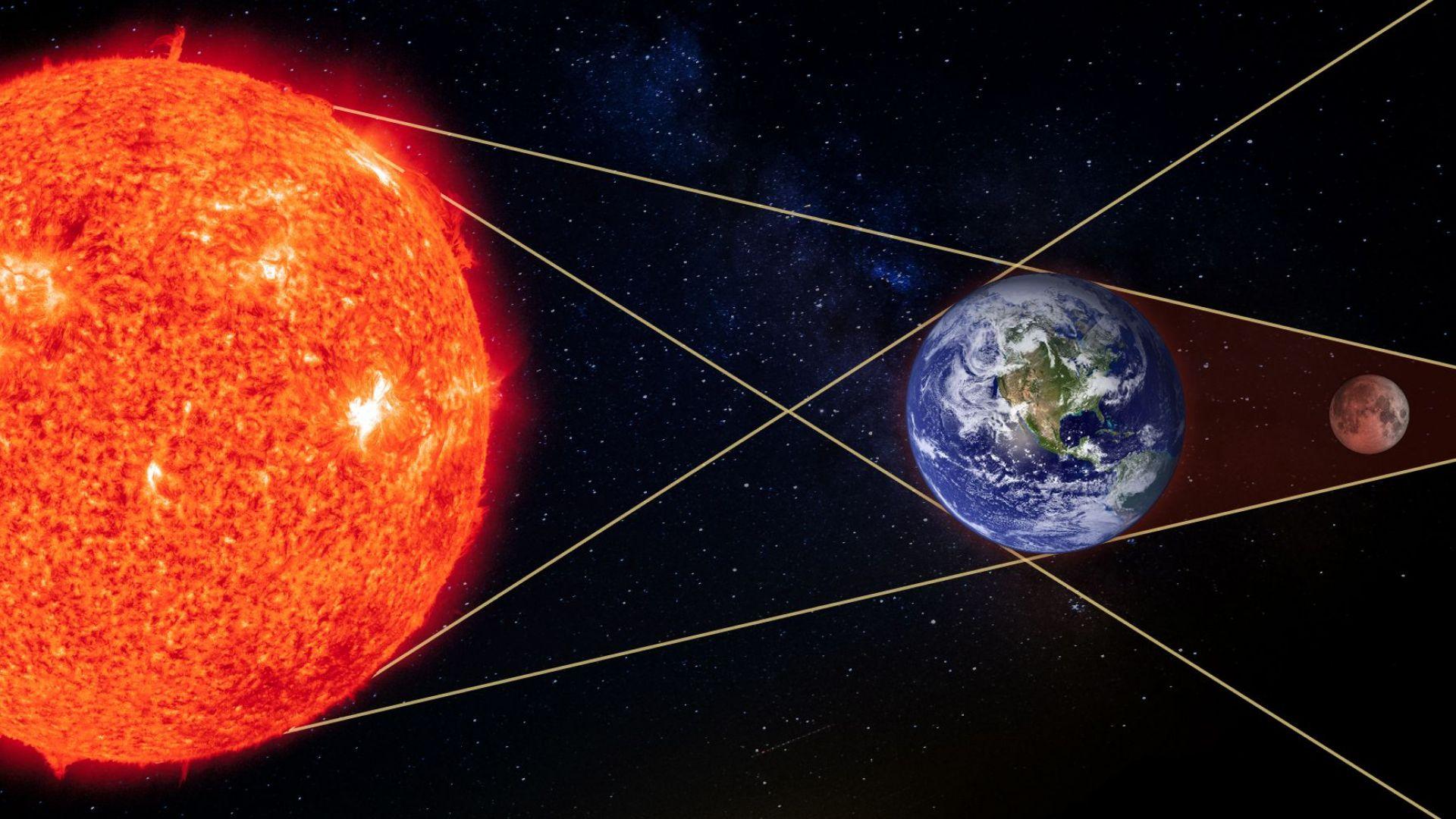 Ако стоите на Луната, ще видите как Земята закрива Слънцето