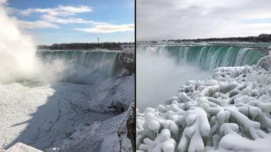 Ниагарският водопад замръзна в спираща дъха гледка (видео)
