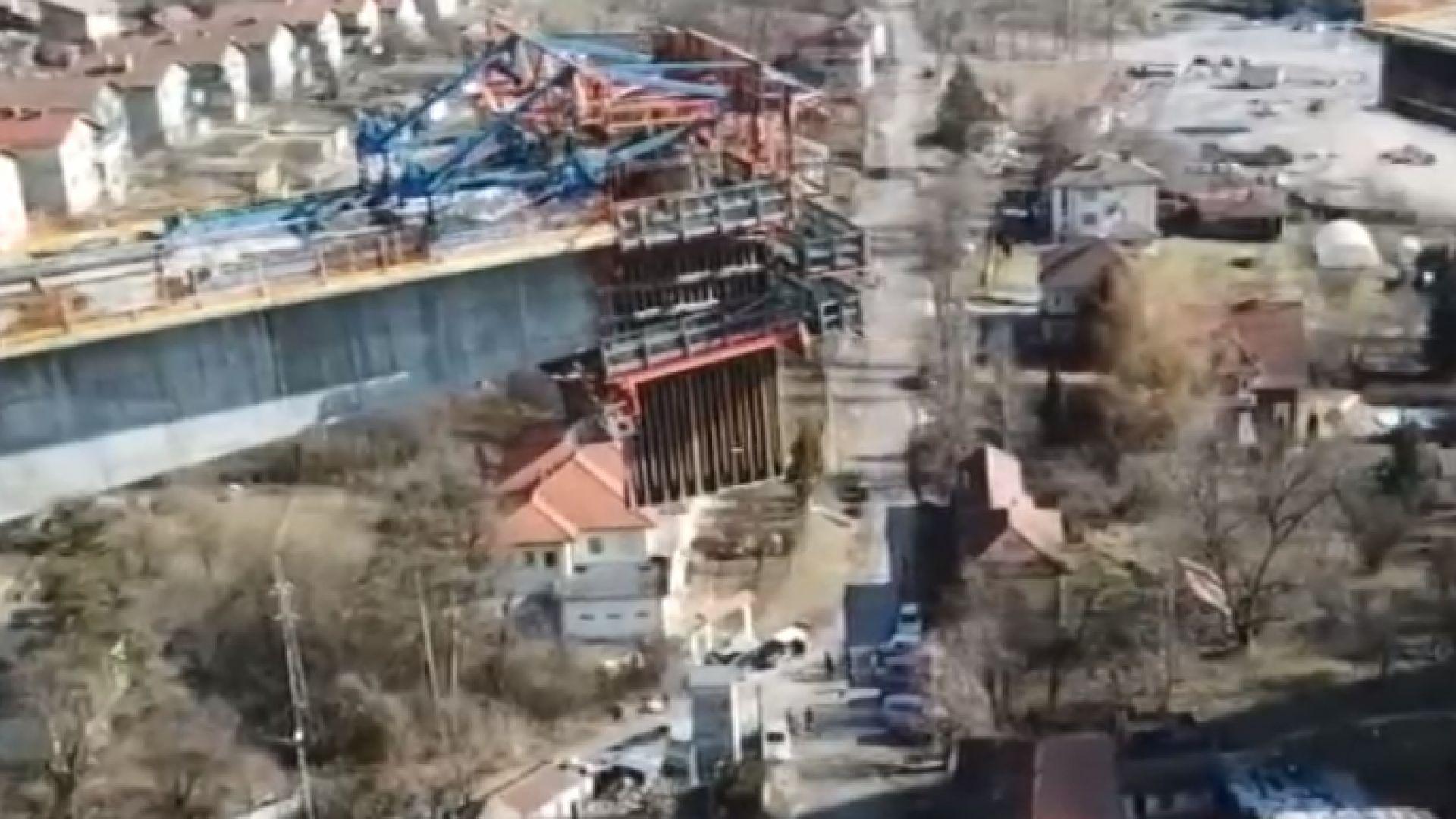 Къщи в Габрово се озоваха под новостроящ се мост