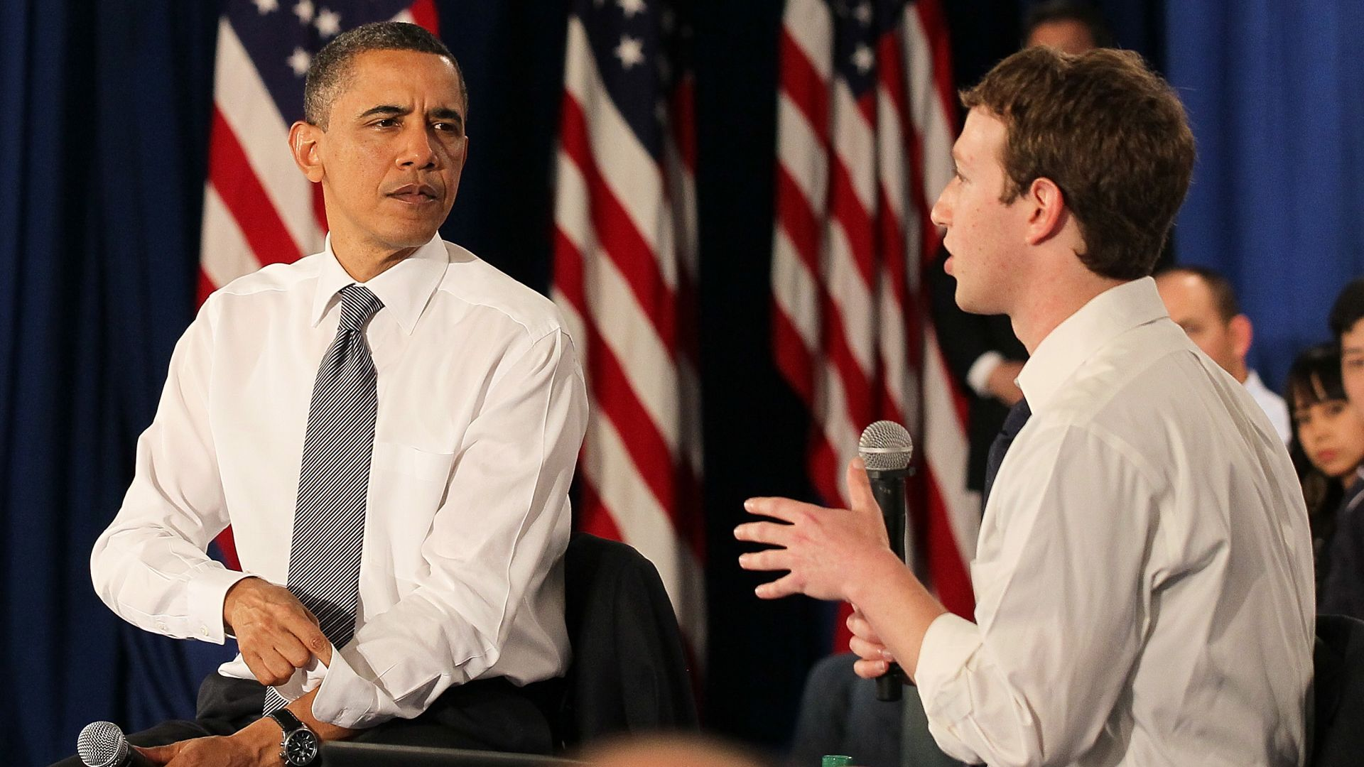 Барак Обама и Марк Зукърбърг