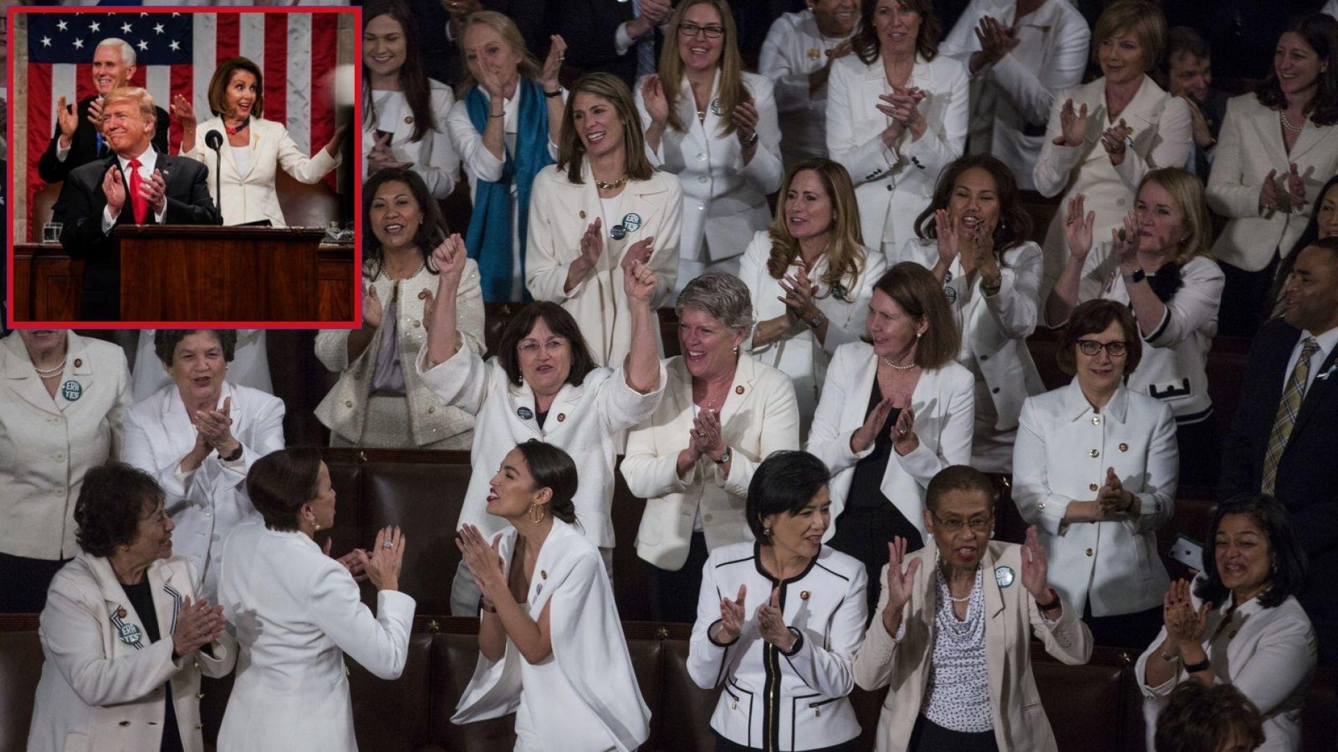 """Тръмп """"прелъсти"""" жените от опозицията и накара всички да скандират: """"Ю Ес Ей"""" (видео)"""