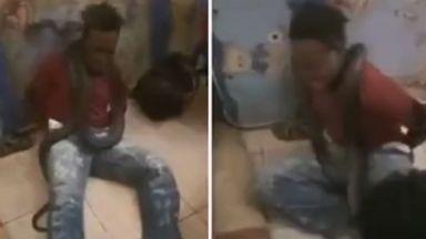 Стряскащо видео: Индонезийски полицаи измъчват заподозрян със змия