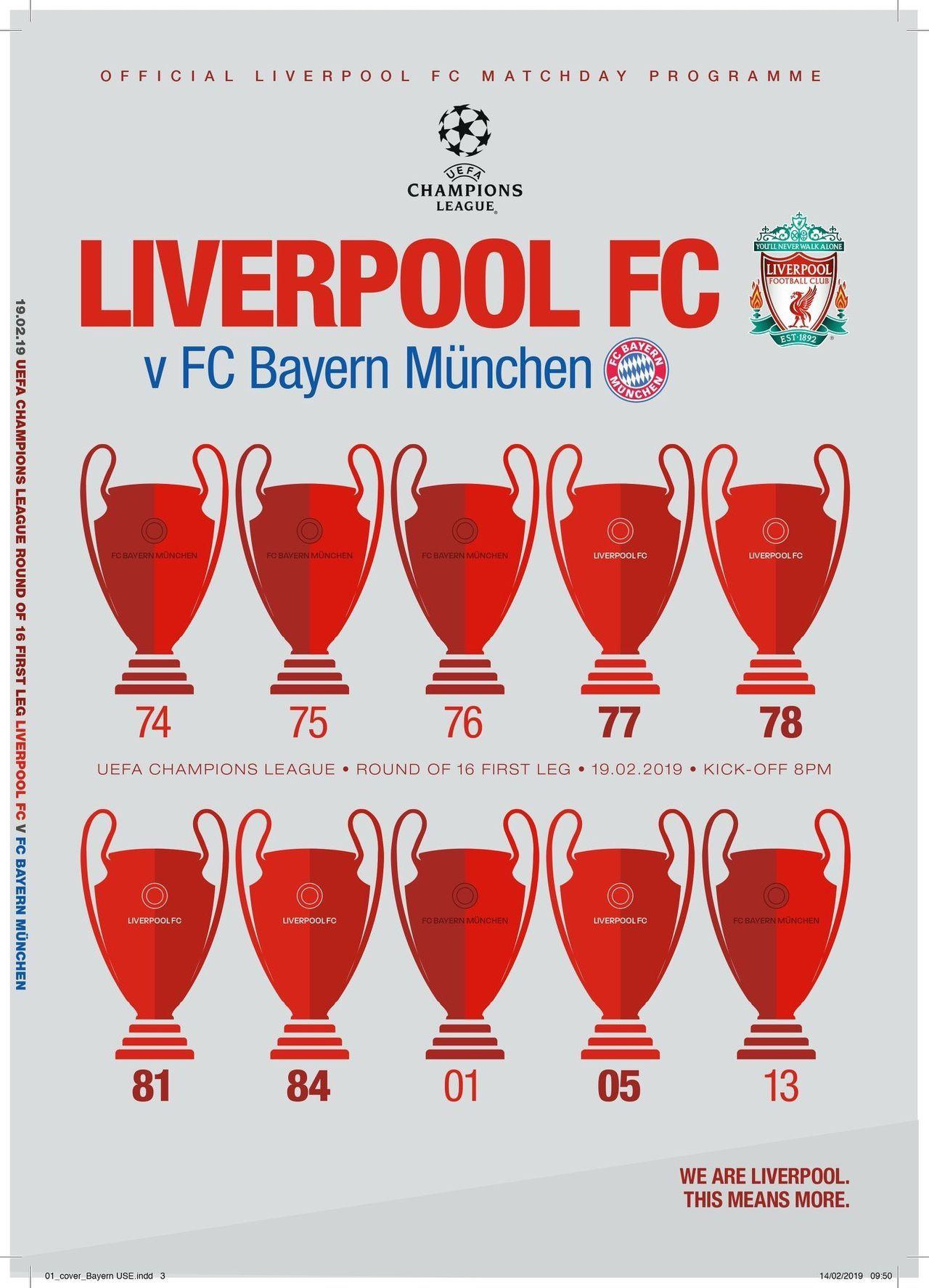 Програмката за мача, изготвена от Ливърпул - с по пет европейски купи на шампионите за двата клуба.