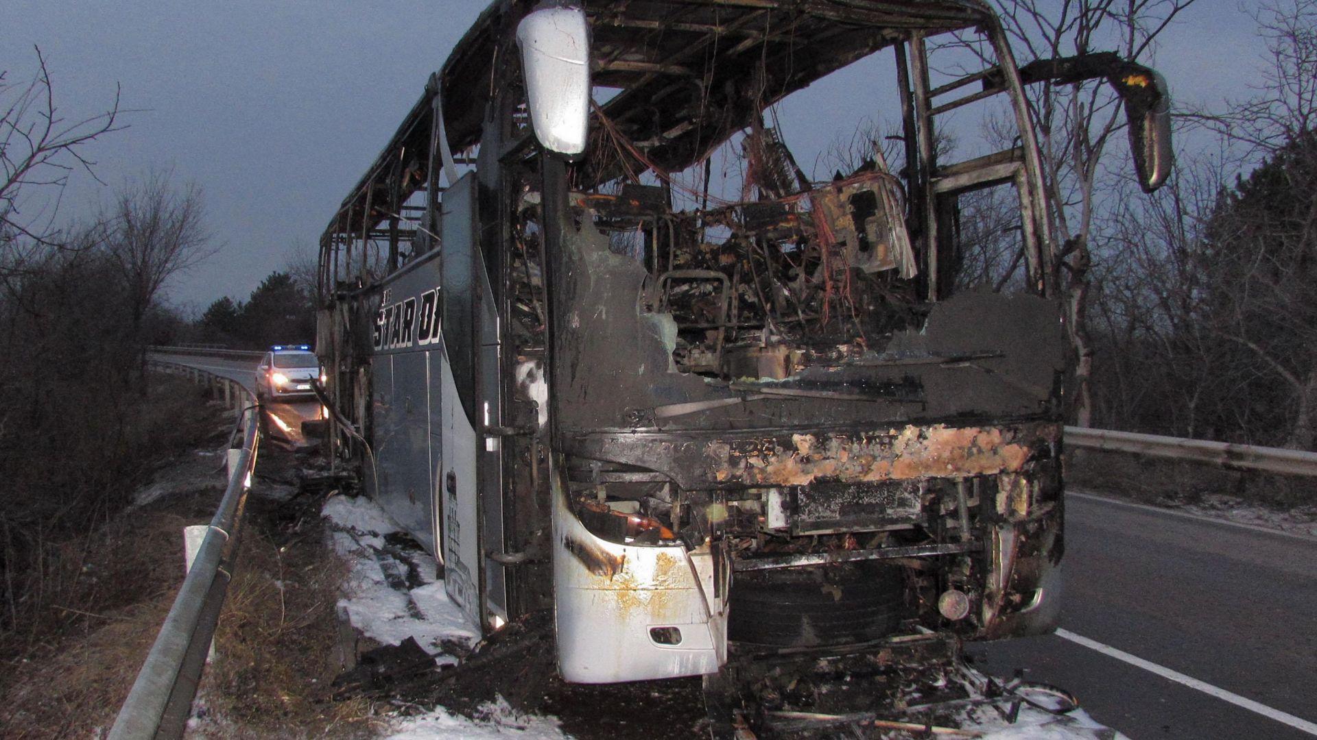 """Пламналият автобус с деца на """"Тракия"""" минал преглед преди пътуването"""