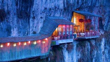 Висящ ресторант в Китай за любителите на силни усещания