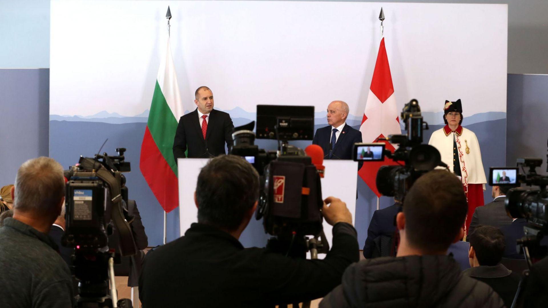 Снимка: На срещата с Румен Радев: Швейцария с интерес към модернизиране на армията ни