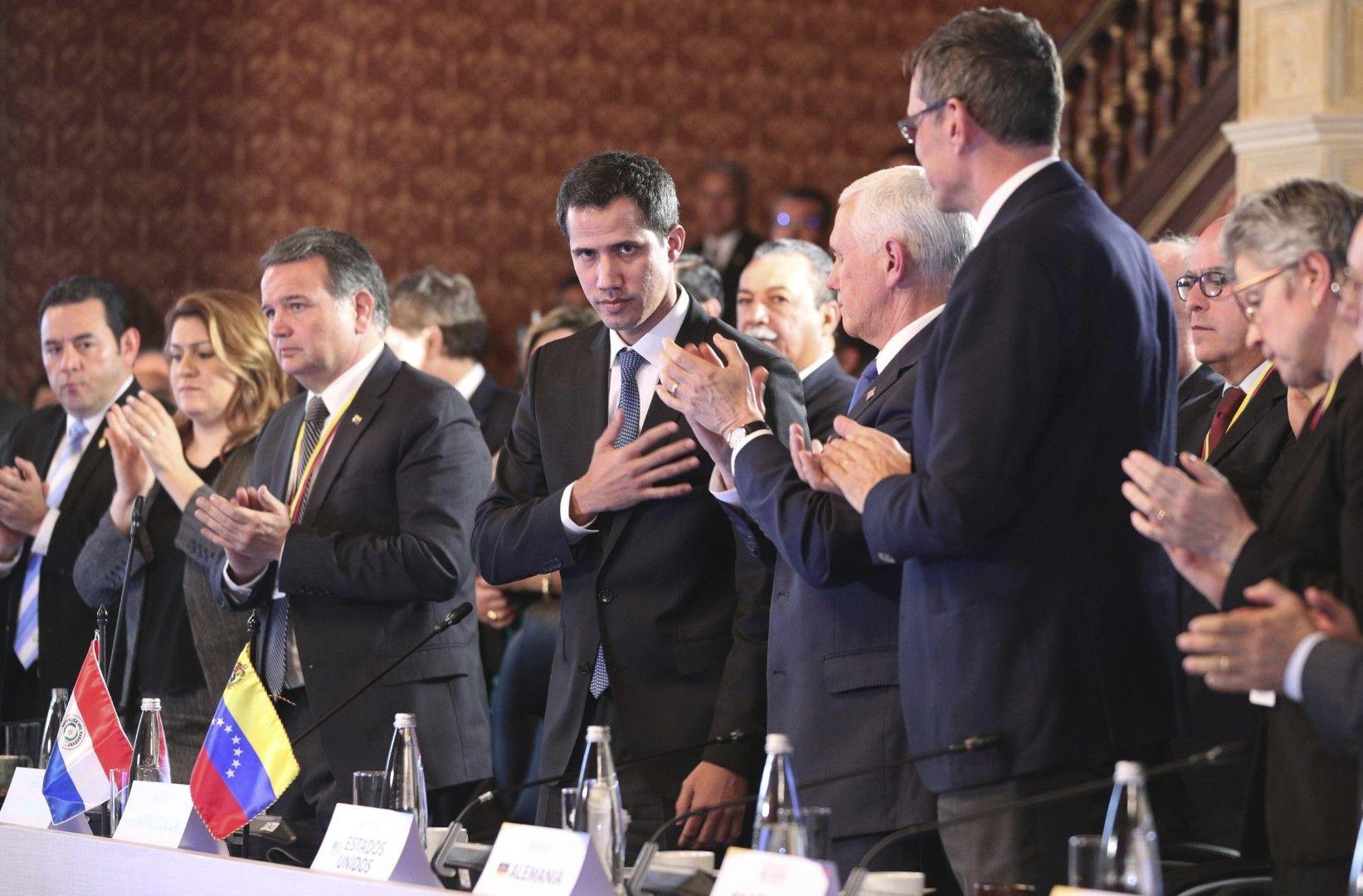 Хуан Гуаидо сред лидери на Латиноамерикански страни от Групата Лима. На преден план е и вицепрезидентът на САЩ Майк Пенс