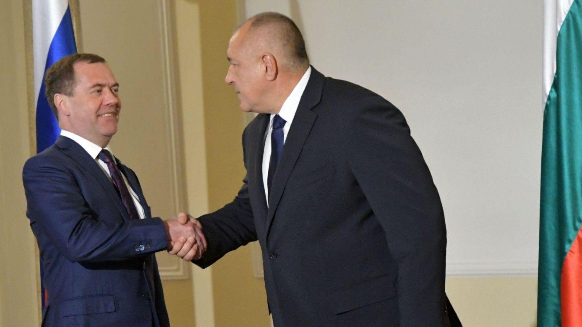 Борисов към Медведев: Полага ни се да участваме в газопреноса и тръбите ни да са пълни