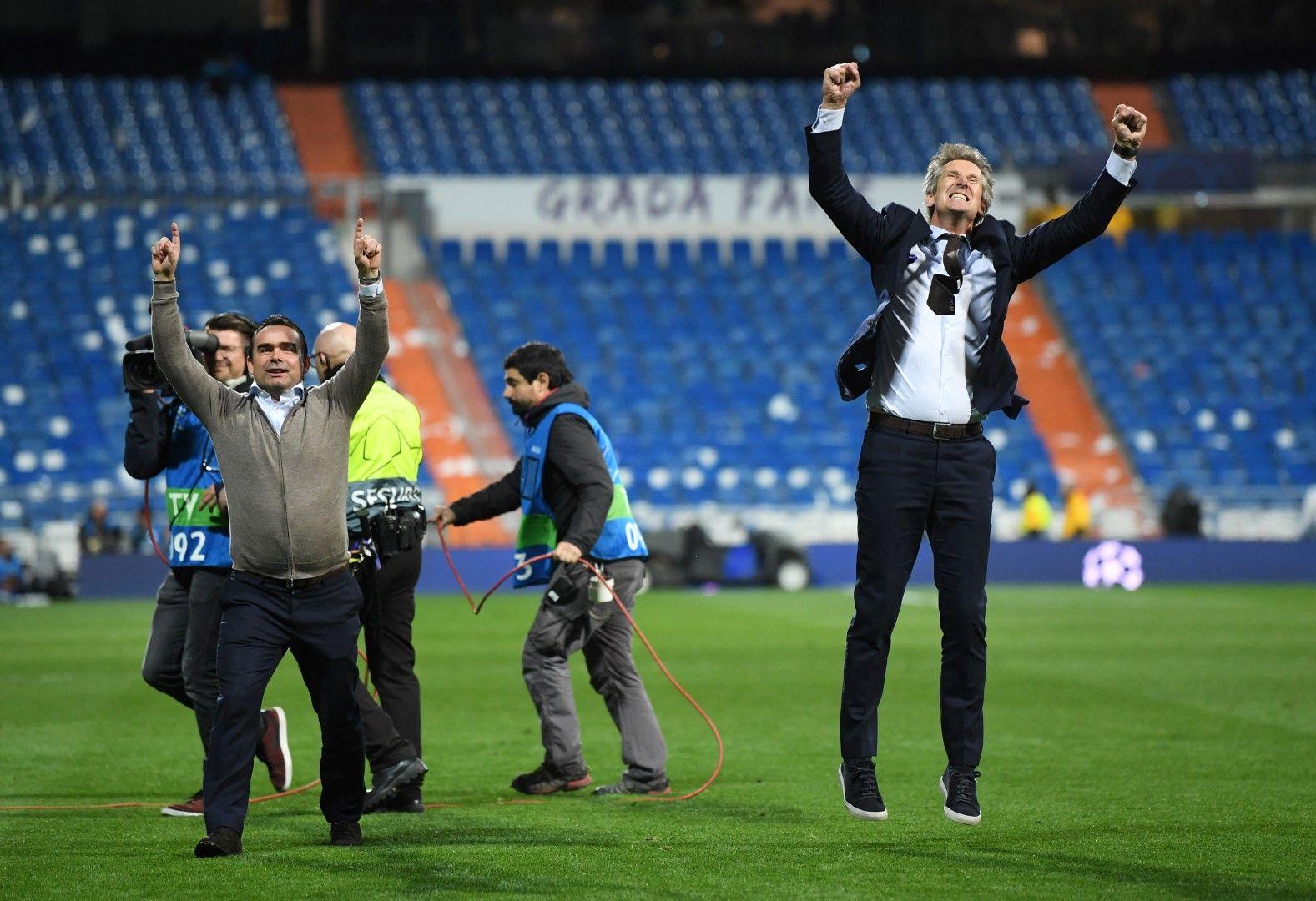 Марк Овермарс и Едвин ван дер Саар след края на мача в Мадрид