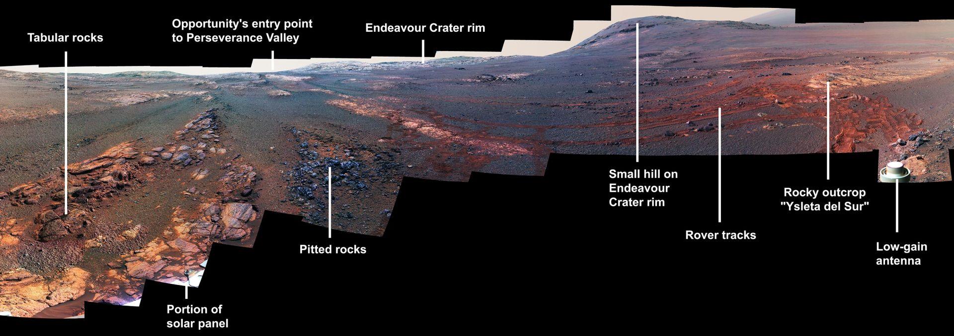 Това е последната панорама на Опортюнити в цвят с по-добър контраст