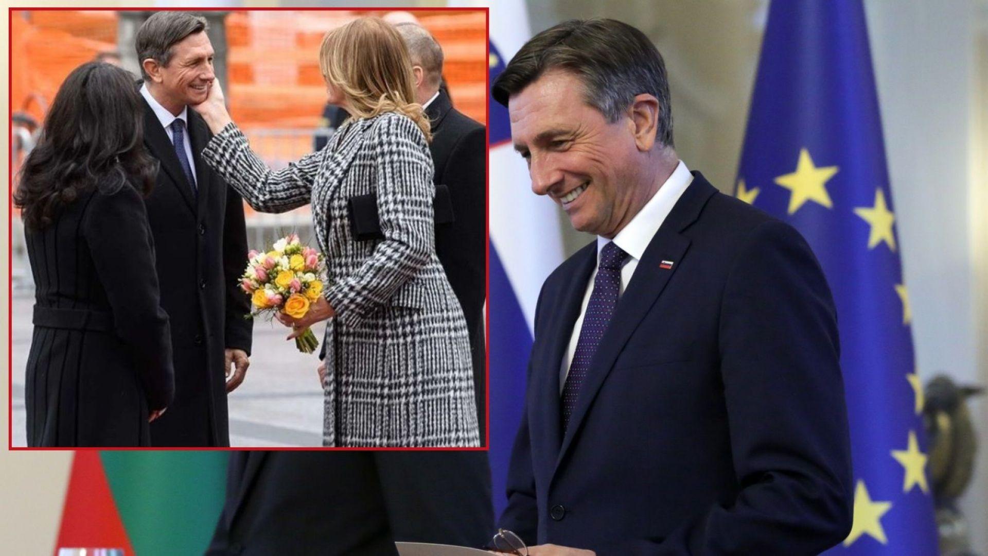 Президентът на Словения получи целувка с червило от Десислава Радева (видео)