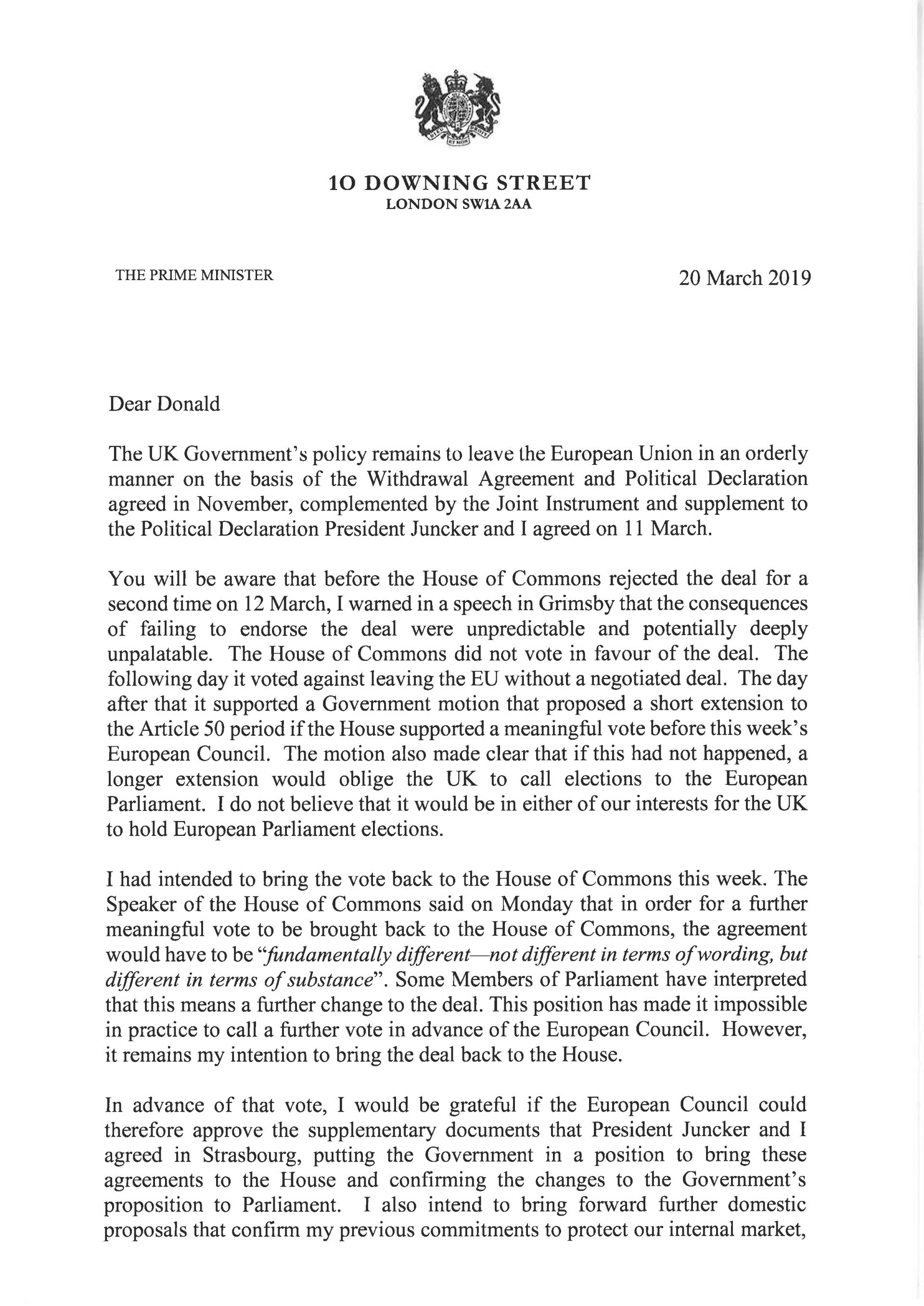 Писмото до Доналд Туск