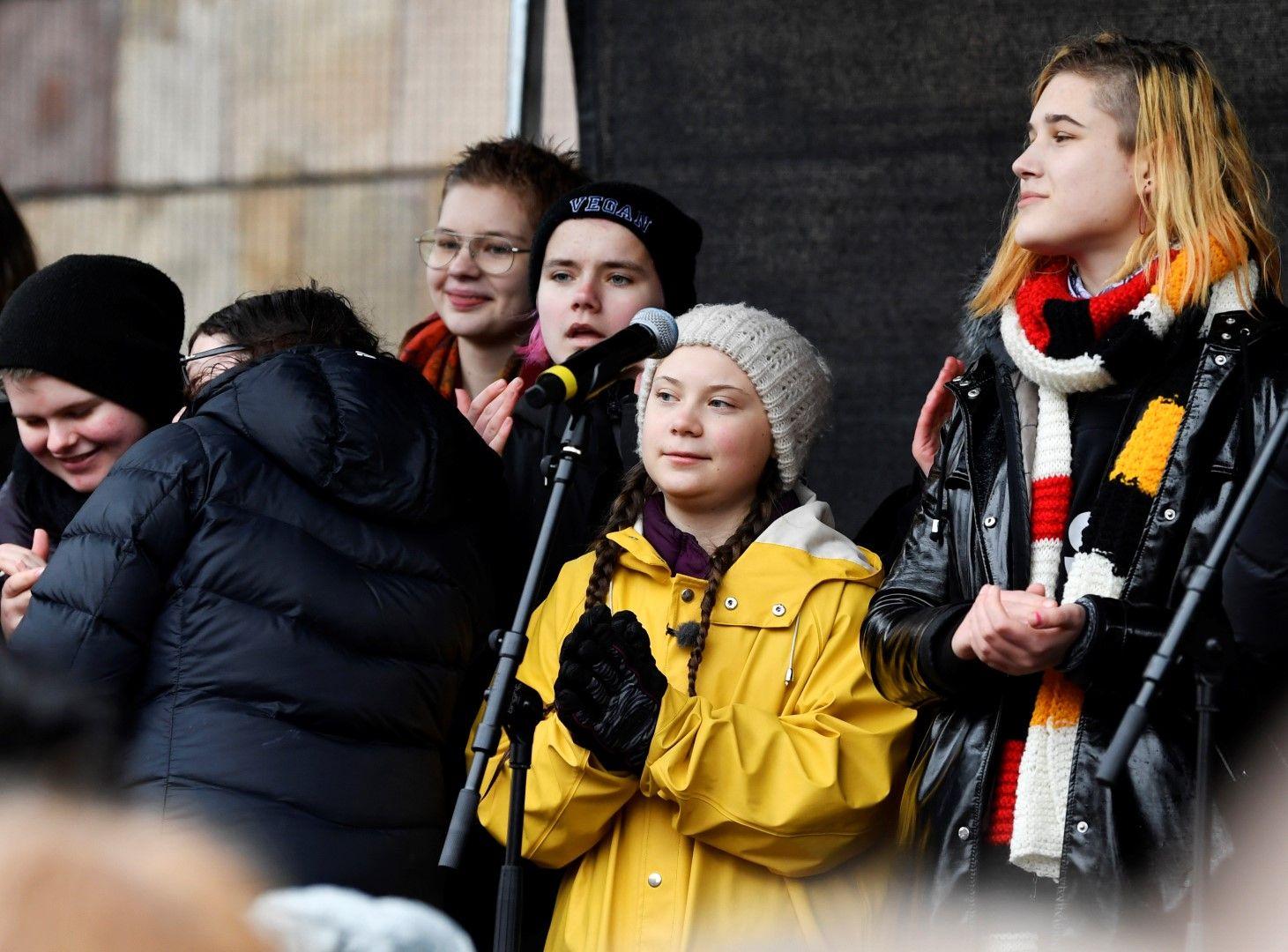 Грета Тунберг на протеста на 15 март в Стокхолм