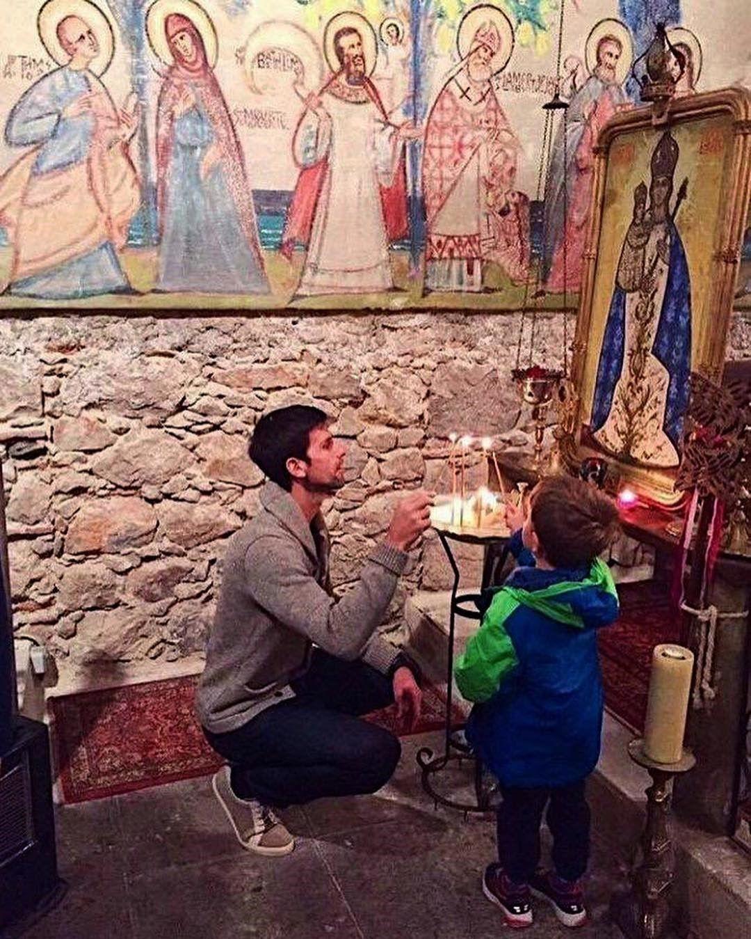 Със сина му Стефан в църквата в Ница