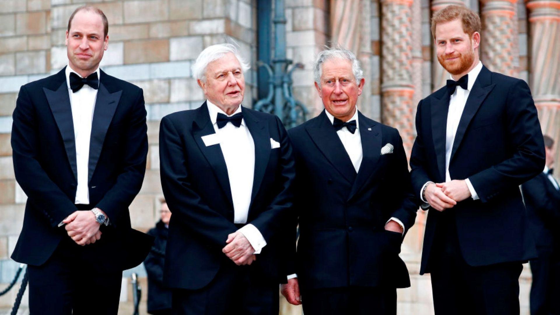 Принцовете Чарлз, Уилям и Хари заедно на премиера