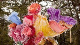 Художничка замразява рокли в пленителен букет от ледени цветя