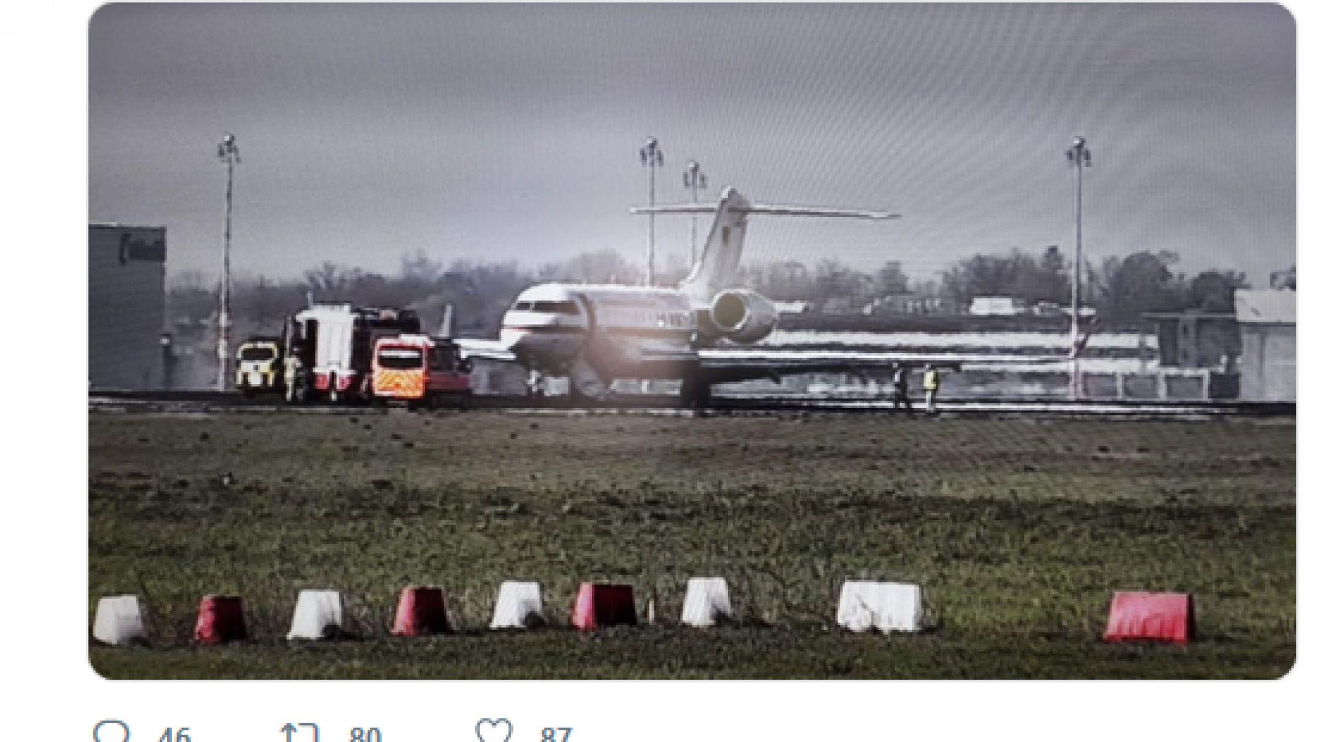 Снимка: Германски правителствен самолет блокира летищна писта