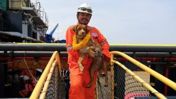 Спасиха куче на 220 км навътре в морето