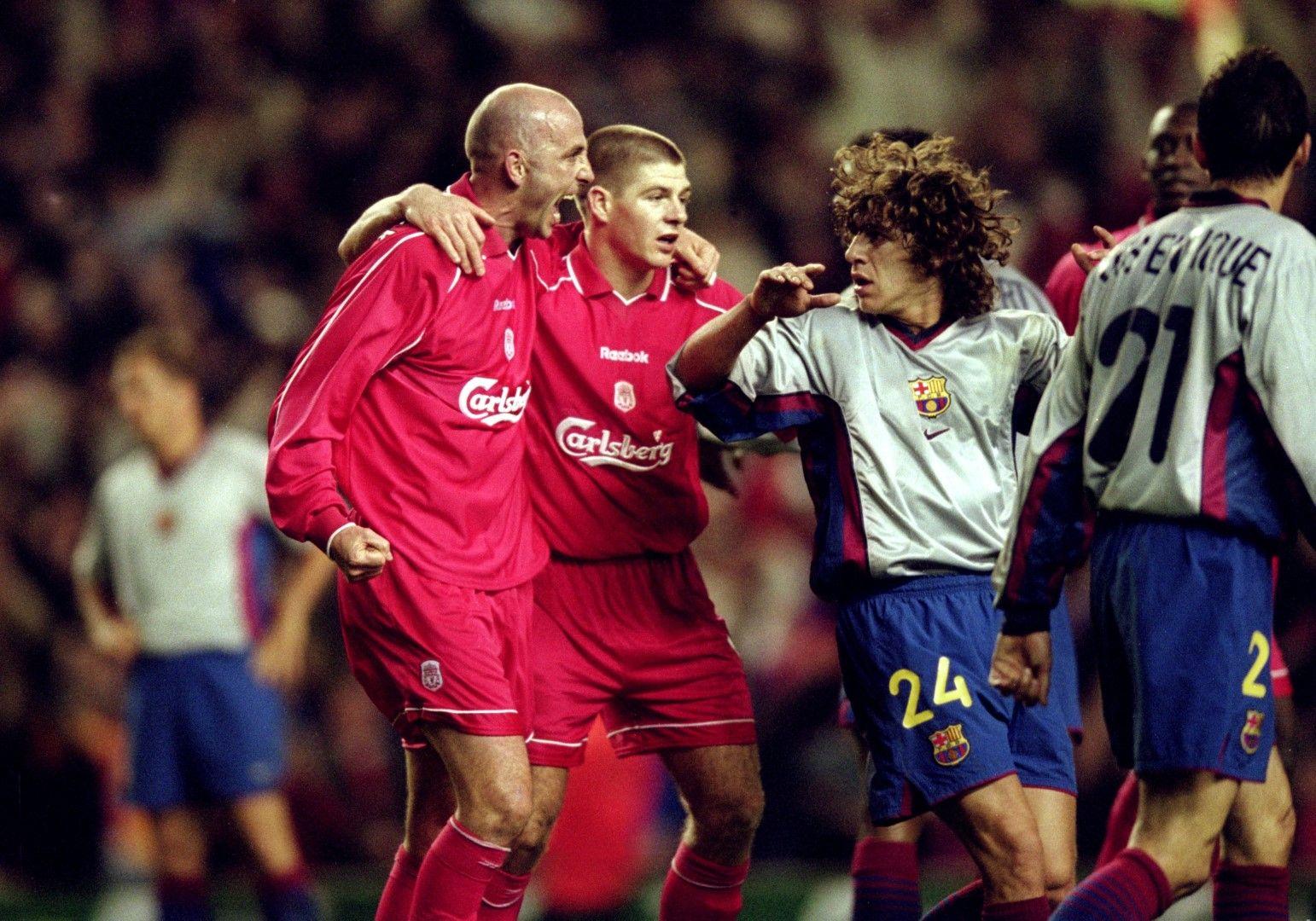 Ливърпул - Барселона 1:0, 2001 г. в реванш от полуфиналите за Купата на УЕФА. Гари Макалистър се радва, а Карлес Пуйол е готов да се сбие с него
