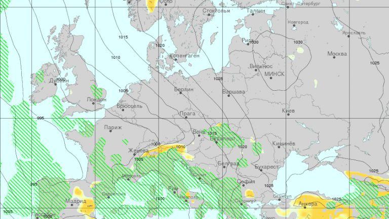 Видно от картата (източник meteoinfo.by), засега валежните зони заобикалят или засягат само с перифериите си страната ни