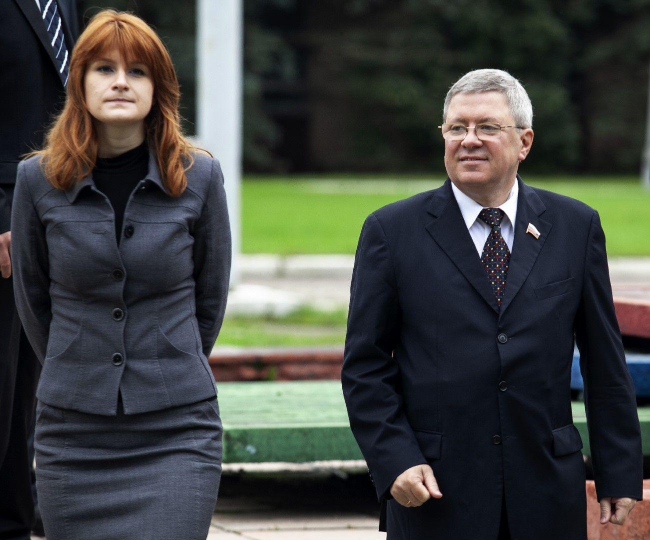 Мария Бутина с депутата от горната камара на руския парламент Александър Торшин, Москва, 7 септември 2012 г.