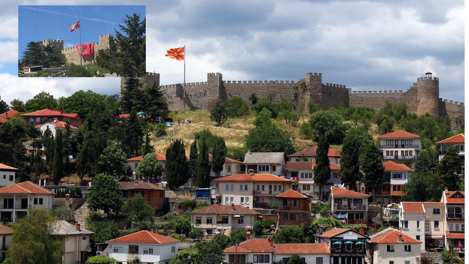 Огромно албанско знаме над Самуиловата крепост скандализира Охрид
