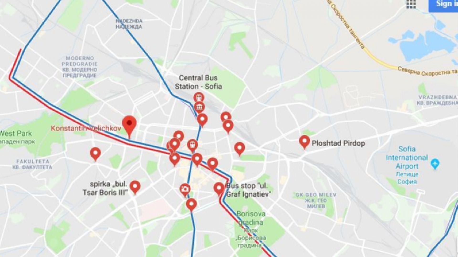 Градският транспорт в София влезе в Google Maps